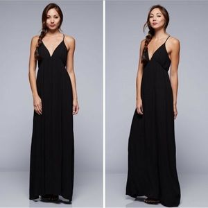 Black strapped backless maxi dress